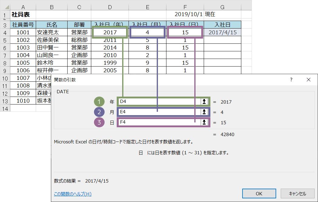 DATE関数の使い方(ダイアログボックス)