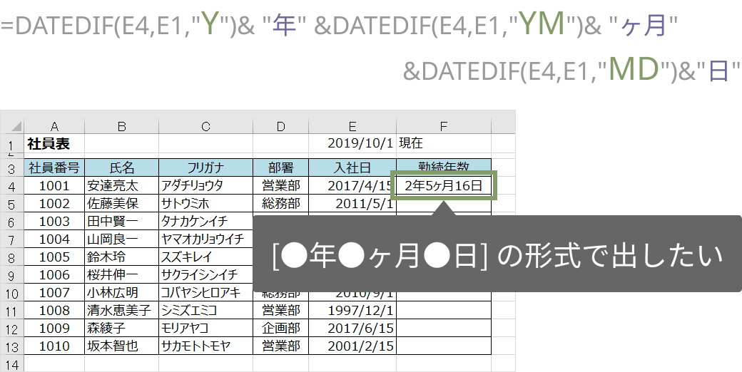DATEDIF関数で年月日を出す
