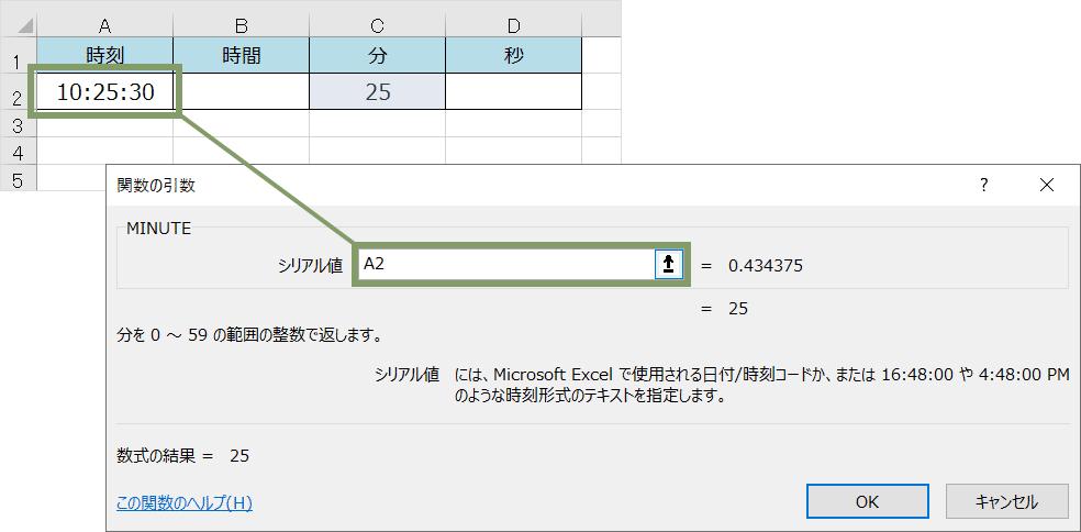 MINUTE関数(ダイアログボックス)